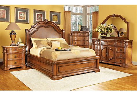 pecan bedroom furniture rosabelle queen dark pecan 8pc panel bedroom bedroom sets