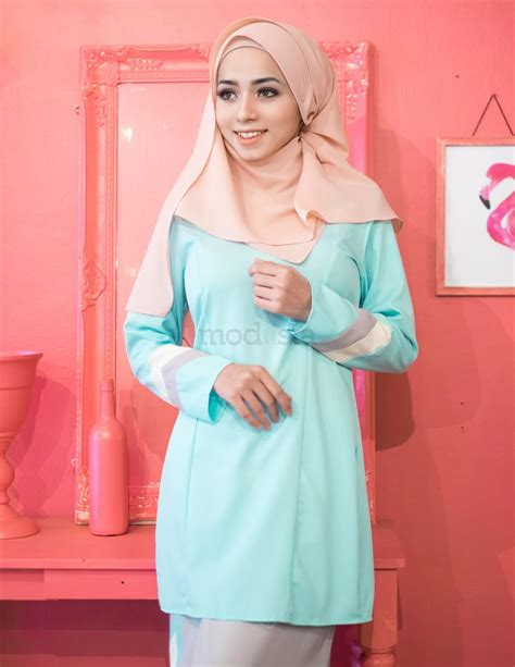 Baju Kurung Moden Warna Pastel baju kurung moden pastel warna mint renee