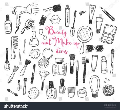 create free doodle make up cosmetic stock vector 605738192