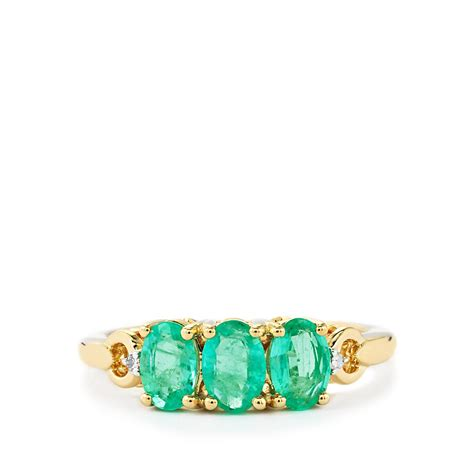 siberian emerald ring with in 9k gold 1 30cts