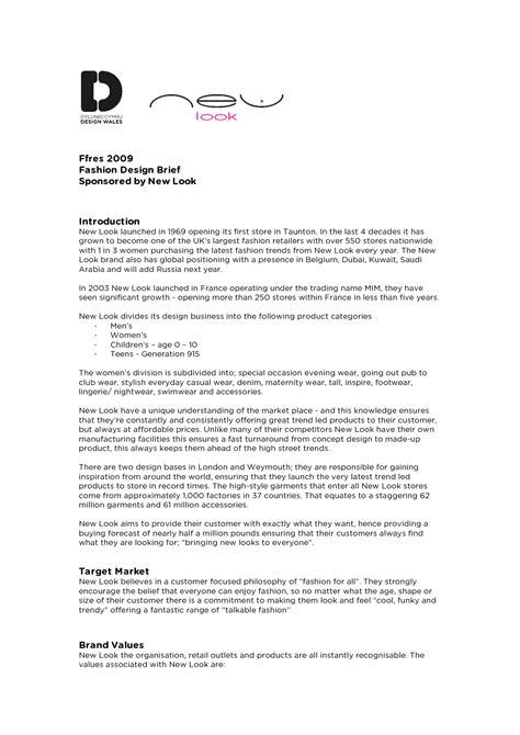 design brief template uk fashion design brief exle design brief pinterest