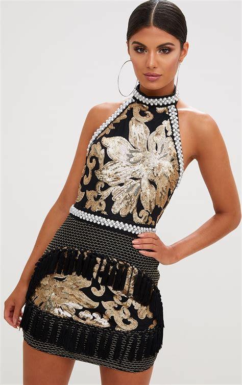 anisha black premium embellished sequin bodycon dress