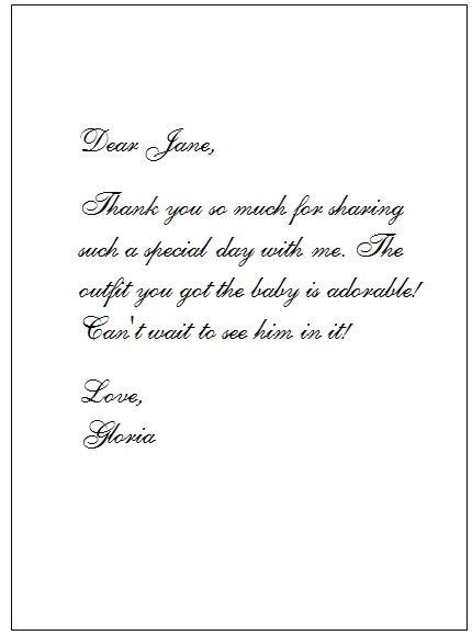 thank you letter after wedding shower baby shower card thank you wording baby shower