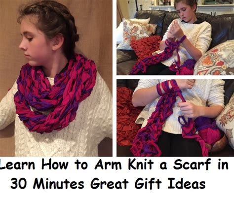 learn to arm knit arm knitting a scarf pattern kit