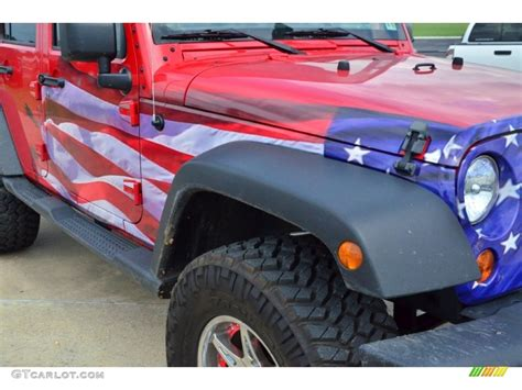 white and blue jeep 2011 jeep wrangler unlimited sport 4x4 us flag custom red