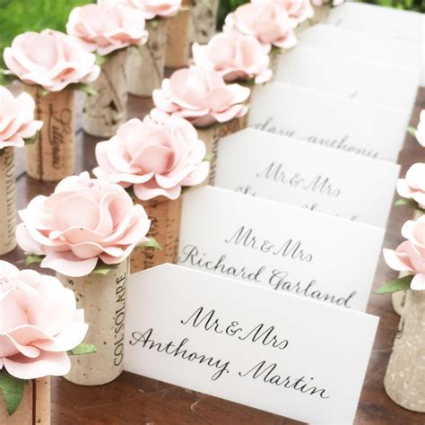 unique place cards romantic placecard holder wedding blush pink bridal shower