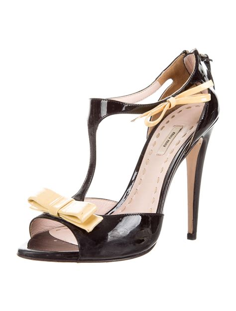 bow sandals miu miu patent leather bow sandals shoes miu56804