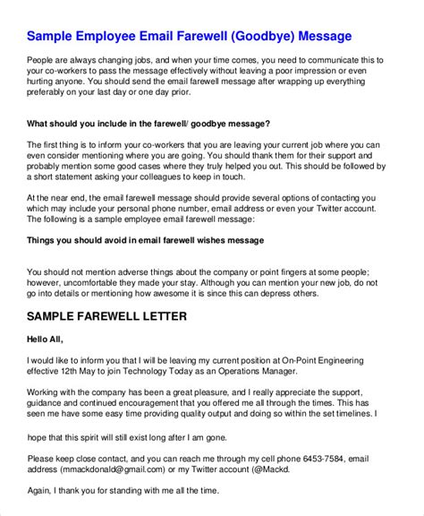 last day at work email template farewell letter 7 free sle exle format free