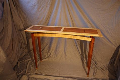 hall table floating top cherrycurly maple webony