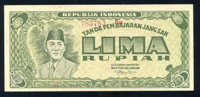 Indonesia Rp 5 1947 Ori P Soekarno Sn 777 074 Ox Xf galery uang ri thpardede s