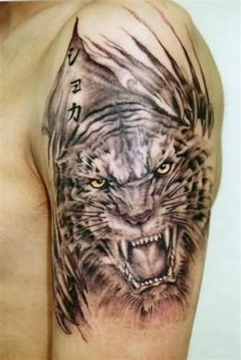tiger shoulder tattoo 53 outstanding tiger shoulder tattoos