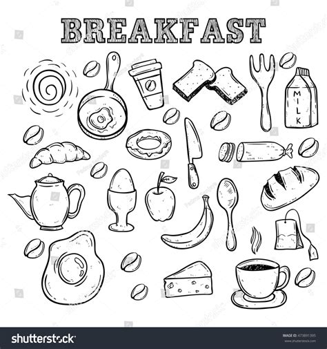 doodle food icons breakfast food icons using doodle stock vector
