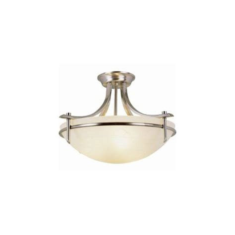 Thomas Lighting Riva 3 Light Brushed Nickel Ceiling Semi 3 Light Semi Flush Mount Ceiling Fixture