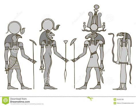 gods of ancient egypt stock vector image 55405786