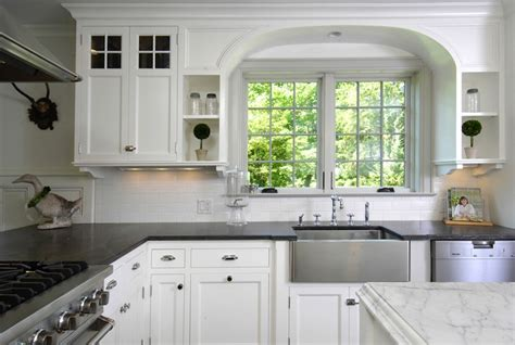 kitchen countertops with white cabinets soapstone apron sink design ideas