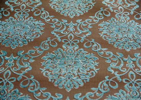 turquoise chenille upholstery fabric turquoise jacquard upholstery chenille fabric by the yard