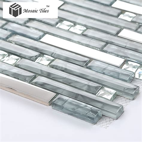 tst glass mental tile glass tile grey stainless