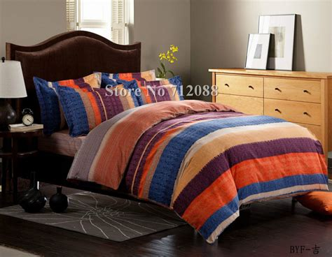 Orange Bed Sets Comforters Free Shipping Blue Orange Purple Stripe Bed Sheets Linens 4pcs King Comforter Bedding Sets