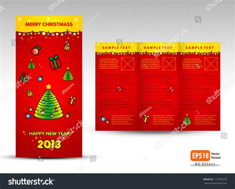 brochure christmas tri fold vector layout design template