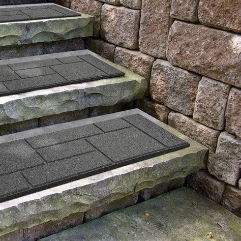 envirotile cobblestone grey stair tread 10 inch x 24