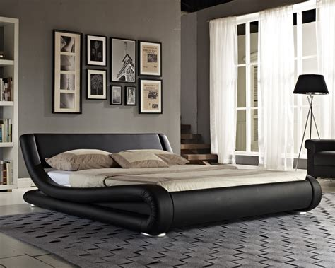 Double Bed Faux Leather King Size Frame Modern Italian Designer Bed And Mattress Ebay