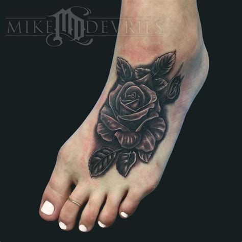 michael rose tattoo mike devries tattoos black and gray foot