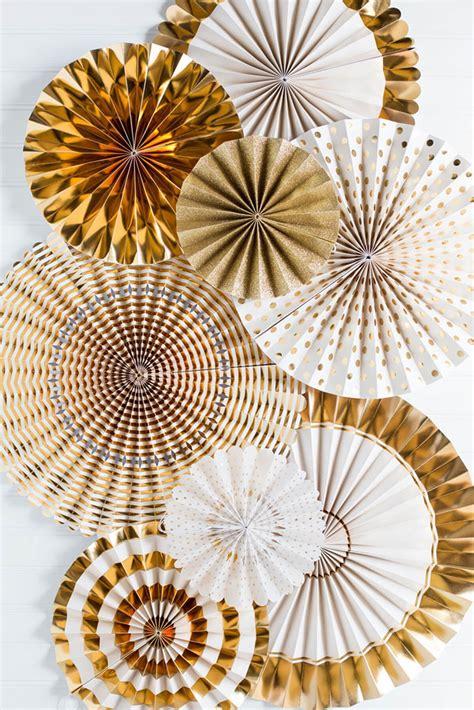 new year fan decoration fancy fans rosette pinwheels gold white wedding