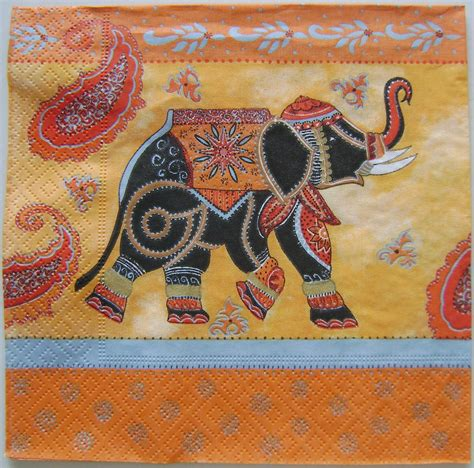 indian elephant decorative serviette paper napkins for