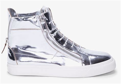 silver sneakers for giuseppe zanotti mirror metallic silver zip sneakers