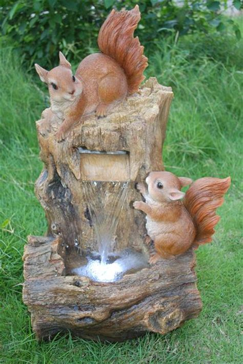 Two Squirrels on Tree Trunk Water Feature with LED Lights