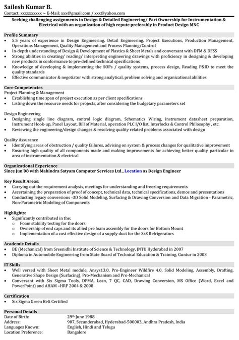 resume format for experienced mechanical design engineer resume format for mechanical engineer with 1 year experience it resume cover letter sle
