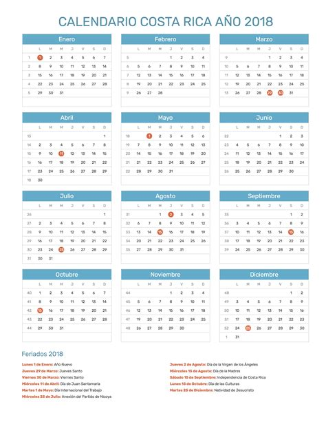 Calendario Nacional 2018 Calendario Costa Rica A 241 O 2018 Feriados
