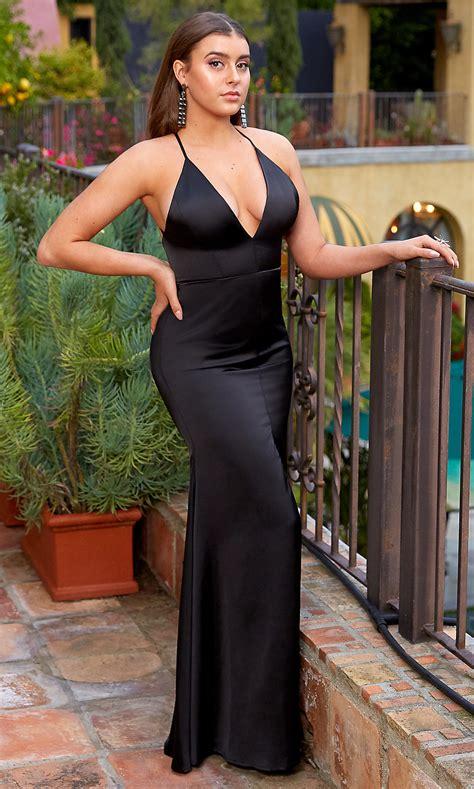 open  black long mermaid prom dress promgirl