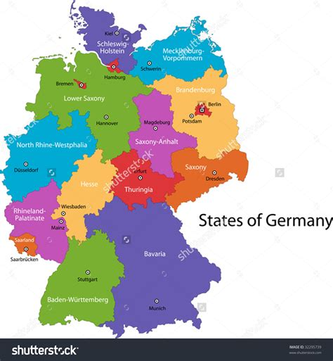 regions of germany map map of regions germany 3 colorful cities stock vector