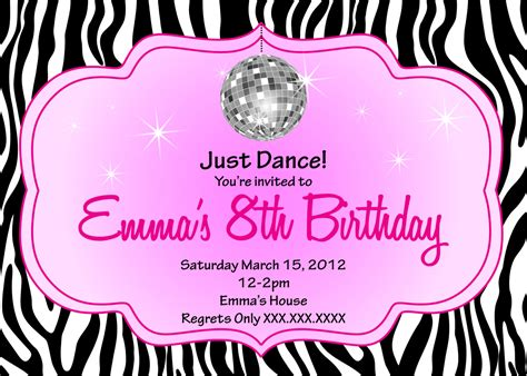 zebra disco diva birthday printable invitation