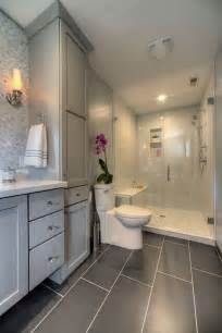 Master Bathroom With Walk In Shower Master Bathroom With Glass Walk In Shower Large Gray Tiles On Floor Gray Cabinets Mosaic Tile