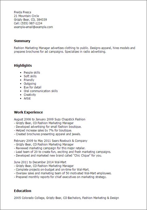 Fashion Pr Assistant Sle Resume by Professional Fashion Marketing Manager Templates To Showcase Your Talent Myperfectresume