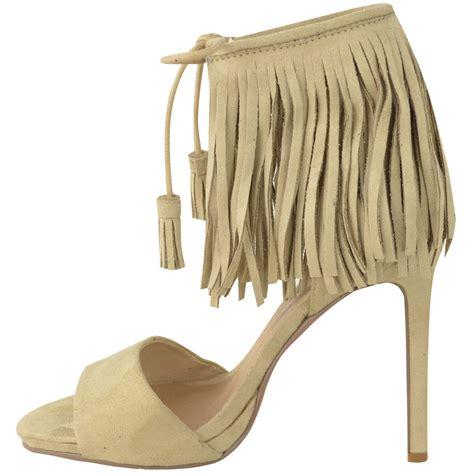 fringe sandals heels womens fringe high heel tassle ankle cuff strappy
