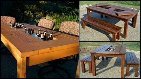 Patio Table With Built In Cooler For Sale by Diy Patio Table With Built In Wine Coolers How To