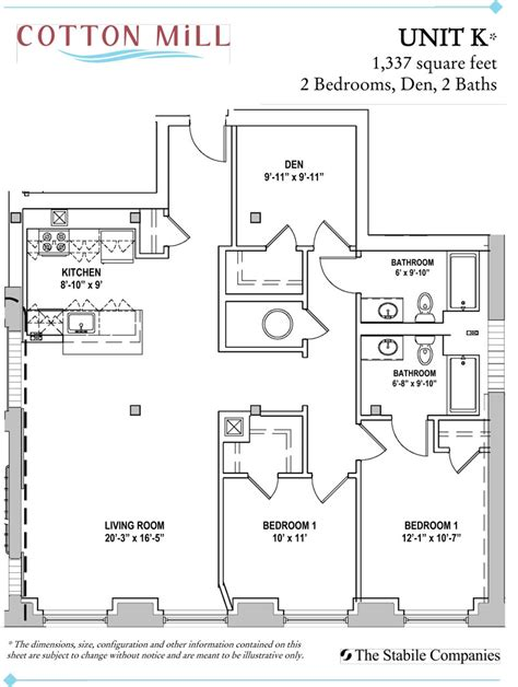 apartment floor plans two bedroom den two bath 2 bedroom apartments with den at cotton mill