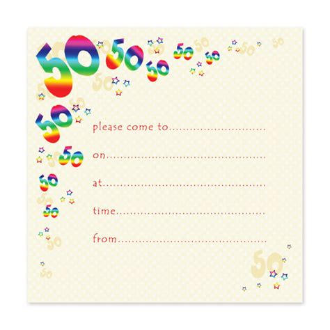 Free samples free 50th birthday party invitation wording template and