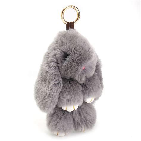 Rabbit Chain bunny rex rabbit fur cellphone handbag keychain pom doll key chain ring pendant ebay