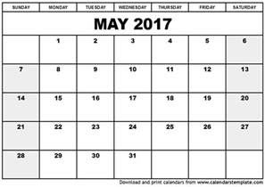 Calnedar Template by May 2017 Printable Calendar Printable Calendar 2017