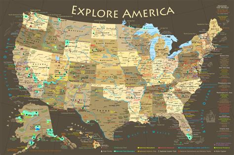 map usa poster us map national park map poster illustrated usa map