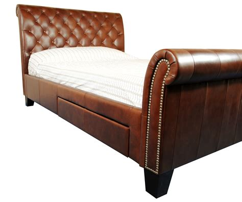 Chesterfield Bed Frame Schreiber Benedict Premium Leather Chesterfield Style Bed Frame Rrp 163 1000 Ebay
