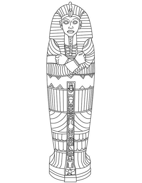 King Tut Gold Sarcophagus Of Ancient Egypt Coloring Page Sarcophagus Coloring Page