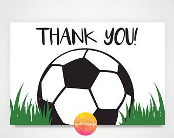 soccer thank you card template soccer thank you etsy