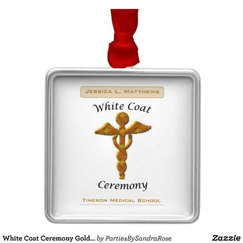 Metal Ornaments Home Decor white coat ceremony gold medical square gift item metal
