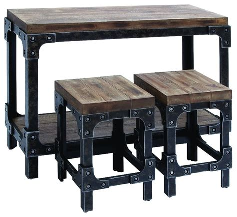 Pub Bistro Table Sets Distressed Wood And Metal 3 Console Table Industrial Indoor Pub And Bistro Sets By