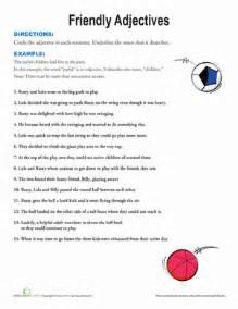 friendly adjectives worksheet education com